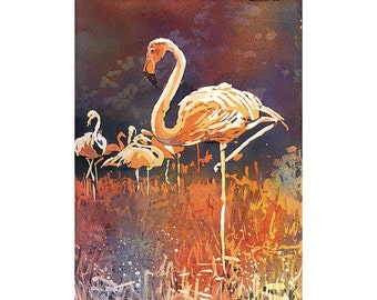 Flamingo watercolor painting.  Poured watercolor painting of flamingos at zoo in Columbus, OH.  Flamingo art.  Watercolor painting flamingo