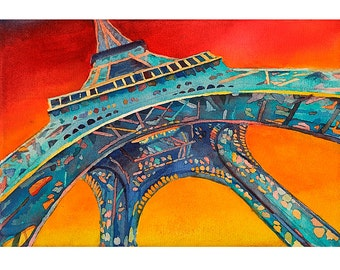 Fine art watercolor painting of portion of the Eiffel Tower at sunset- Paris, France.  Eiffel Tower art.  Painting Eiffel Tower.