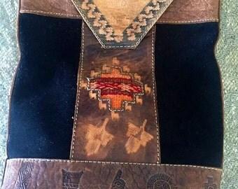 Ethnic Black Suade and Brown Leather Shoulder Handbag Purse