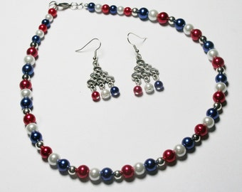 4th of July Necklace, Patriotic Necklace Set, Red, White and Blue Necklace Set, Americana Necklace Set, Women's Jewelry, Memorial Day