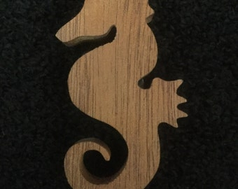 Wooden wood Sea Horse Magnet, Refrigerator Magnet, Fridge magnet, Caballo De mar, Ocean, Beach Decor, Sea Animals, Aquatic,  16-W-002