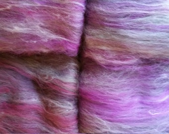 Magenta and grey merino fibre batts for handspinning and felting