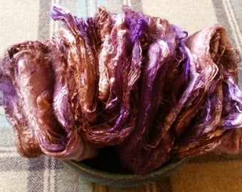 Handdyed Silk Hankies for Hand Spinning or wet felting in purples and browns