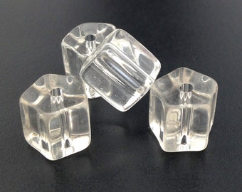 20 Vintage Clear Czech Glass Beads Pentagon 10mm