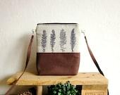 Small size crossbody bag, Wild grasses stamp, Hip Bag, Hand printed bag, Small size handbag, brown bag