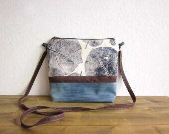 Crossbody blue bag, Hand printed bag, Canvas bag, Every day bag, Hand printed fabric, leaves stamp, middle size bag, natural handbag