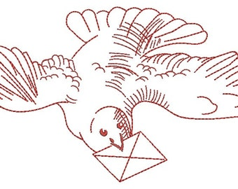 Dove and letter  Machine Embroidery Design instantly download