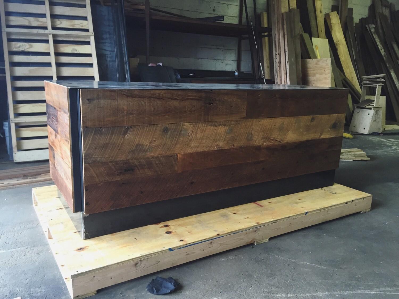 Reclaimed wood steel office desk - Reclaimed wood office desk ...