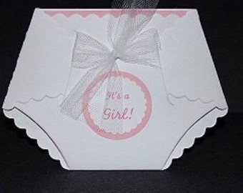 25 Printed DIY baby shower diaper  invitations W/  embellishments and white envelopes