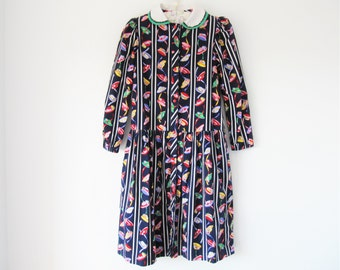 vintage 70s 80s cotton robe house dress smock hat design peter pan collar