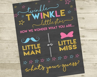 Twinkle, Twinkle Gender Reveal Party 16x20 Sign - DIGITAL FILE ONLY