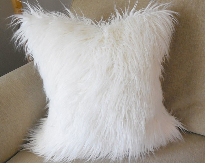 off-white Mongolian faux fur pillow cover - COVER ONLY