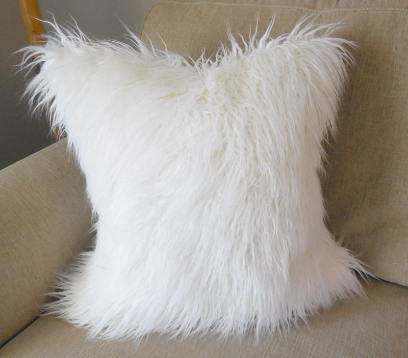 Off white mongolian faux fur pillow cover cover only for White faux fur pillow