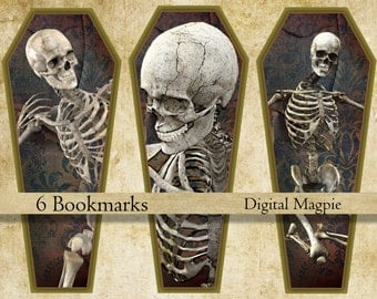 Halloween bookmark instant download printable skeleton bookmarks coffin digital collage sheet trick or treat book lover gift