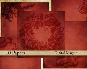 Shabby Christmas red digital paper pack instant download 12 x 12 vintage digital scrapbook background paper dark grungy