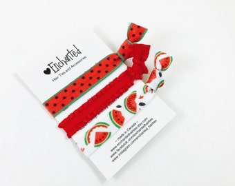 Watermelon Inspired 3-Pack Soft Elastic Hair Ties, Bracelet, Hair Band,Hair Elastic, Party Favor, Fruit Themed Birthday, Watermelon Seeds
