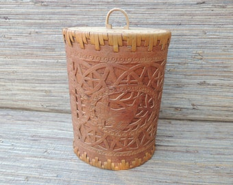 Tall Birch Bark Container With Carved Lid Scandinavian Russian