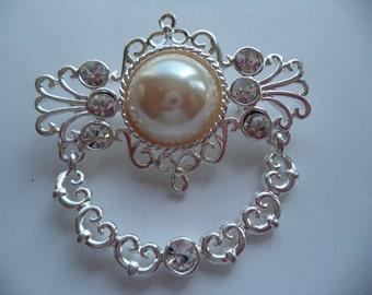Vintage Signed AJC  Silvertone/Rhinestone/Faux Pearl Art Nouveau Brooch/Pin
