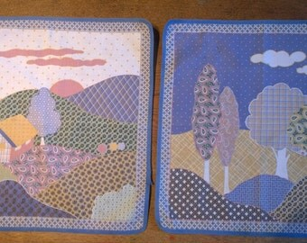Pair of patchwork style table mats place mats trees house 1980s landscape