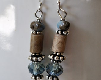 Leland Blue stone and Petoskey stone earrings with sterling silver Bali beads and crystals, Up North earrings, Lake Michigan earrings