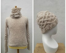 Cream men's alpaca and wool sweater and matching hat with cables, men's alpaca sweater, men's wool sweater, men's wool hat, men's alpaca hat