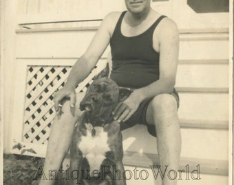 Barefoot man swimmer with large Boxer dog antique photo