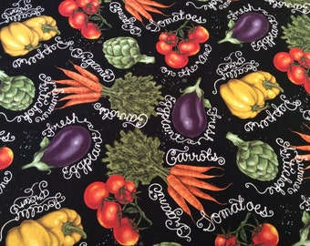 "Vegetables curtain valance 41"" wide and 15"" long in 100% cotton - handmade new."