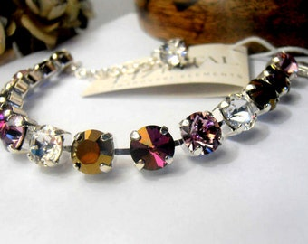 Swarovski Crystal Bracelet, 8mm,Crystal Lilac Shadow, Rivoli Cupchain Bracelet, Silver plated, Shabby, Cupchain, tennis bracelet