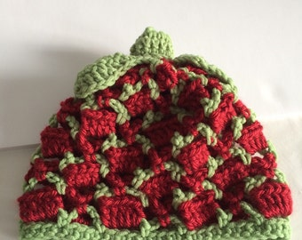 Crochet Baby Hat, Strawberry Hat, Photo Prop, 3 month size, Spring Knit Hat,