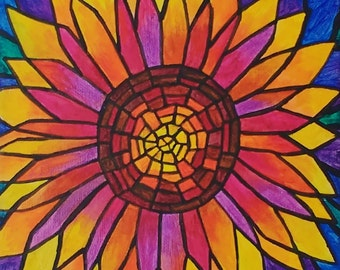 """Abstract Stylised Sunflower - Original Acrylic Painting on box canvas - 8""""x8"""""""