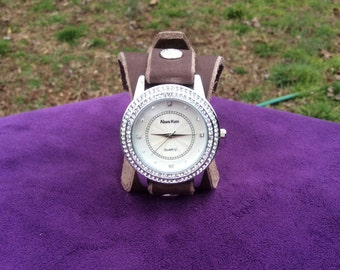 Women's Brown Leather Hourglass Shaped Cuff Watch with Rhinestones