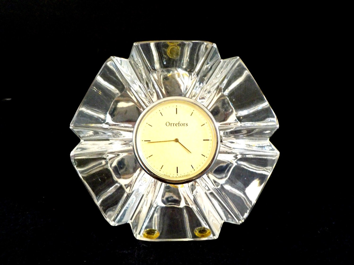 Vintage Orrefors Crystal Clock Desk Clock Mantle Clock