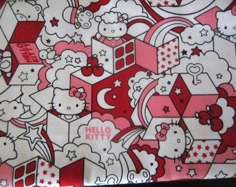 "Hello Kitty 100% Japanese Cotton 1 m length x 45"" width"