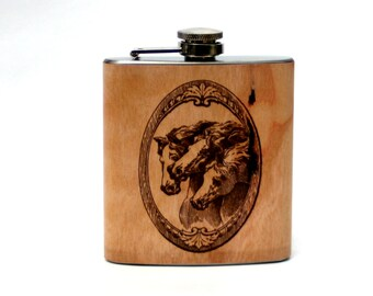 Personalized horse flask, unique gift for cowgirl or horsewoman