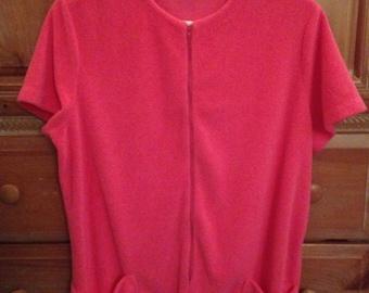Catalina Pink Terrycloth Swimsuit Partial Zip Coverup