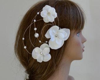 Ivory Bridal Flower Hair Clip Wedding Accessory Pearls