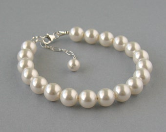 Genuine Swarovski Pearl, Sterling Silver Bracelet, White Pearl Bracelet, Swarovski Bracelet, Strand, Bridal Jewelry, Bridesmaid Gift - DK424