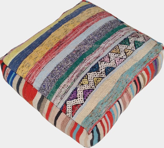 Moroccan Floor Pillows: Moroccan Vintage Floor Cushions / Made From Hand Woven Kilim