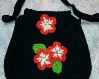 Crocheted Black Flowered Handbag