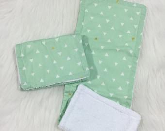 Burp Rag Cloth Mint Aztec- Teether - Wash Cloth - Nursing - Mint Burp Rag - Aztec Burp Cloth - Aztec Burp Rag - Baby Towel - Teething