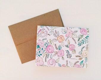 Watercolor Flower Cards with Kraft Envelopes - Blank Inside - Pack of 10