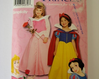 Simplicity Sewing Pattern 9384 Disney Princess Costume Snow White Sleeping Beauty 0626 Toddler Child Size 3 4 5 6 7 8 UNCUT