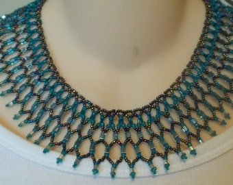Blue iris and teal collar necklace