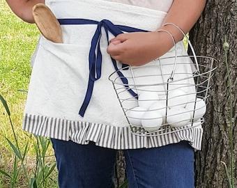 Farmhouse Apron - blue - white - ticking ruffle - stripe - gardening apron - pocket - apron - farmhouse kitchen - egg gathering - garden