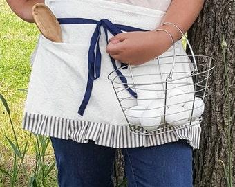 Farmhouse apron, blue and white ticking ruffle, gardening, pockets