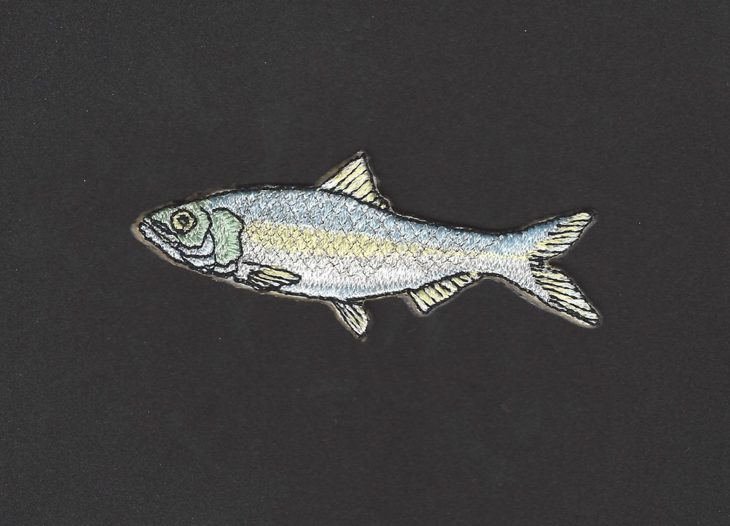 Slapjack herring fish embroidered iron on applique patch for Iron in fish