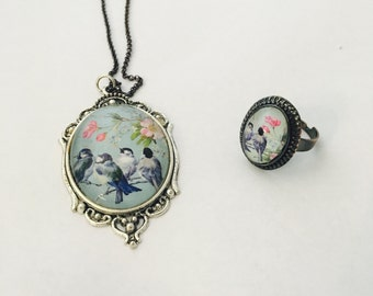 Birds and Flowers Necklace & Ring Set