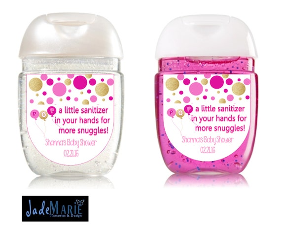 Baby Shower Favors Usa ~ Ready to pop hand sanitizer labels baby shower favors pink