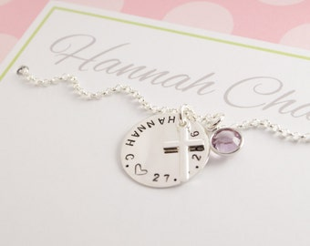 Name necklace with engraving, birth stone, cross, baptism chain christening jewellery