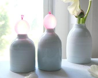 Small Milk Vase (Left), Handmade Ceramics, White Porcelain Pottery, Wheel Thrown